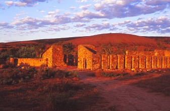 Kanyaka Woolshed. Sunrise on the woolshed.