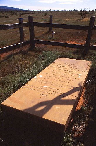 The granite slab (estimated to weigh a ton and a half) was shipped from Scotland by his brothers and sisters and then transported by bullock wagon from Port Augusta to be placed over his grave. The epitaph reads: - TAKE YE HEED, WATCH AND PRAY: FOR YE NO NOT WHEN THE TIME IS.