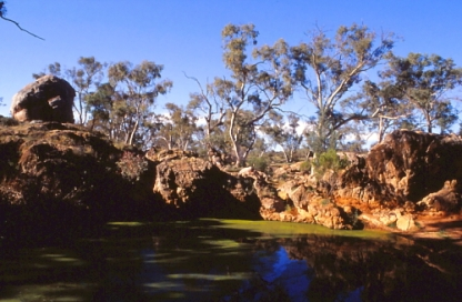 Kanyaka Waterhole and Death Rock. This natural waterhole sustained Kanyaka during the droughts. It was sacred to the local Aborigines who placed their elders here to die.